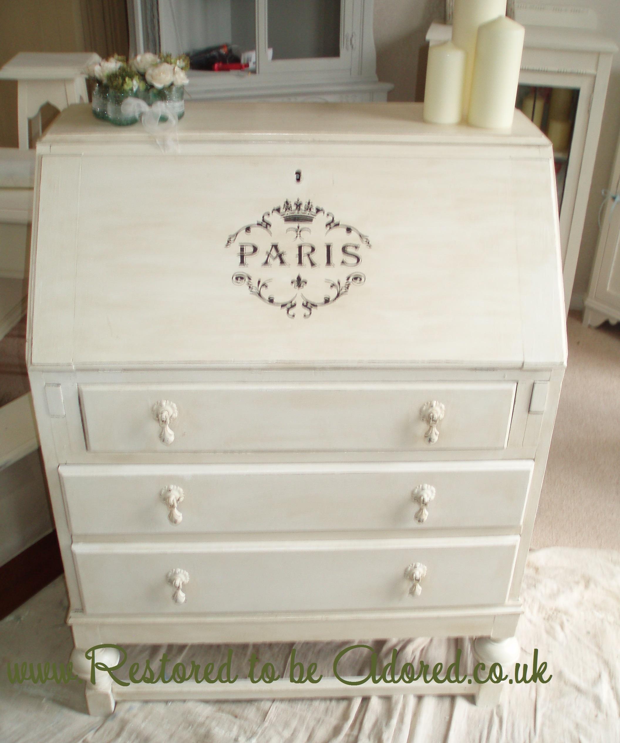 parisian style vintage bureau restored to be adored. Black Bedroom Furniture Sets. Home Design Ideas