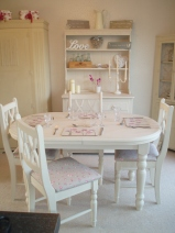 dining table and chairs. shabby chic