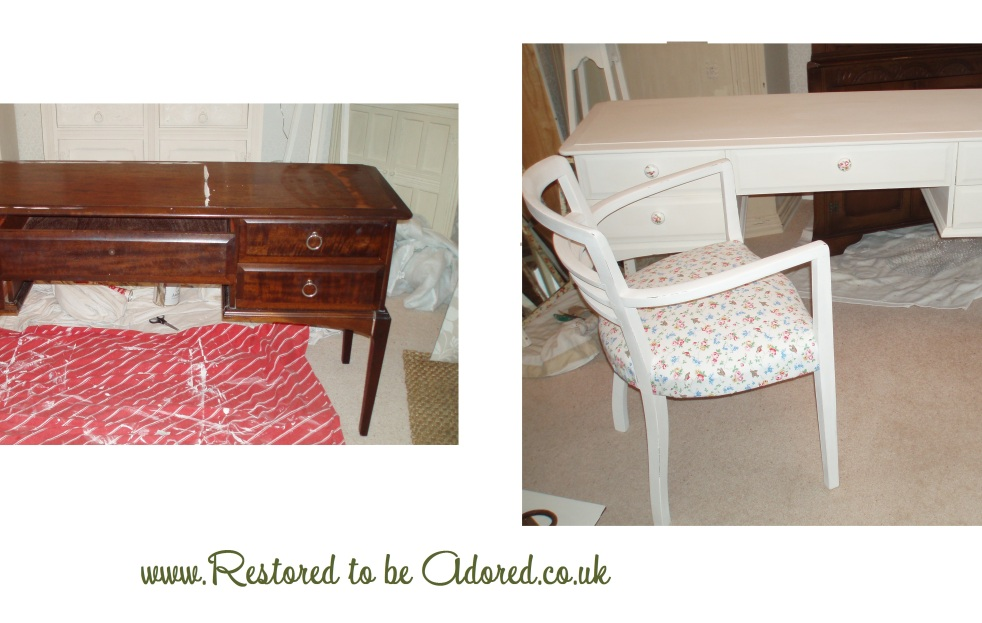 Shabby chic dressing table, shabby chic furniture in kent, bedroom furniture in kent, country cottage furniture in kent, pretty furniture, pretty dressing table, handpainted, cath kidston Bird and flower,