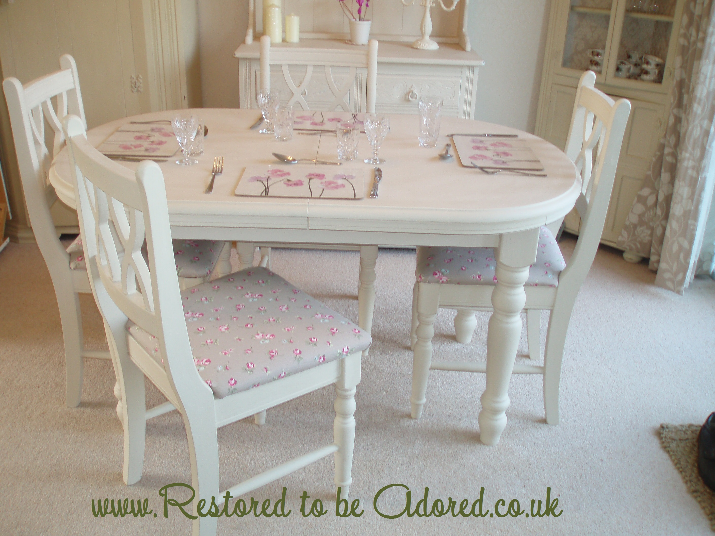 shabby chic dining restored to be adored. Black Bedroom Furniture Sets. Home Design Ideas