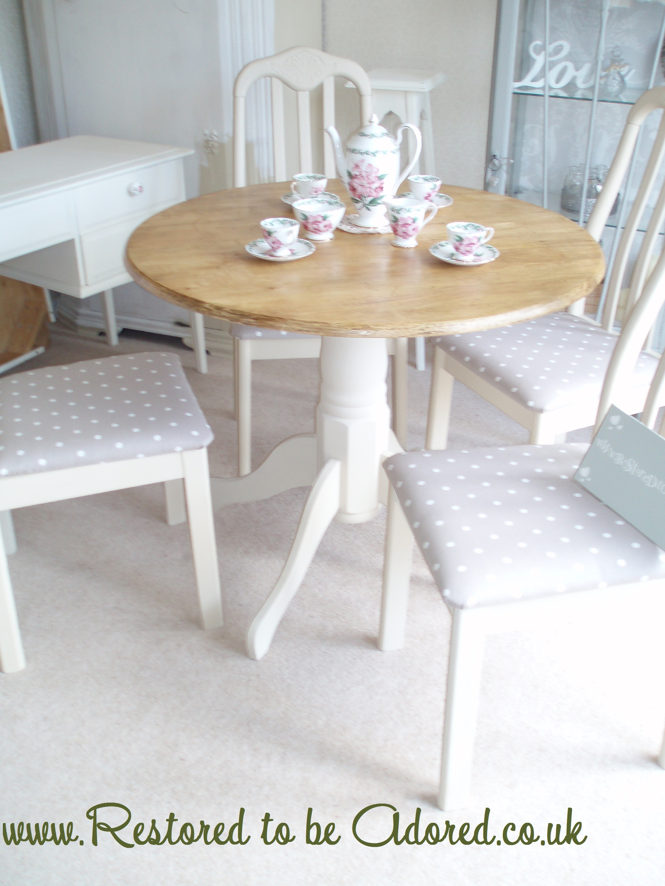 shabby chic dining table and chairs before and after restored to be adored. Black Bedroom Furniture Sets. Home Design Ideas
