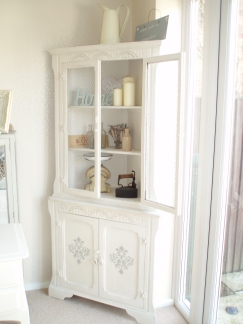 shabby chic stencil, shabby chic furniture, corner unit, oak corner unit,
